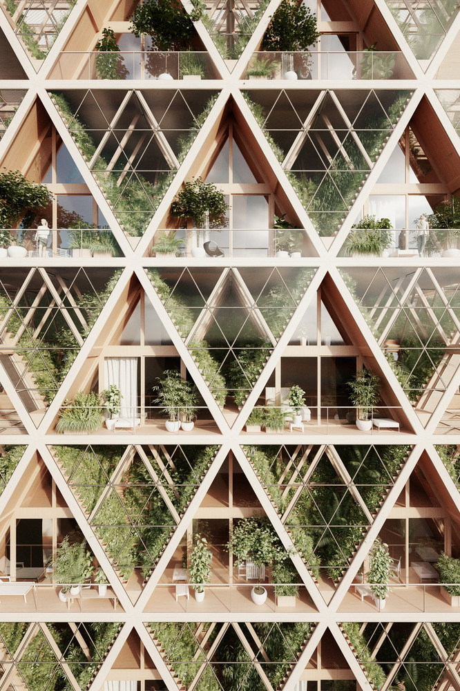 Panel sandwich imitacion madera para el edificio sostenible y modular que cambiara las ciudades